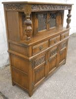 Old Charm Oak Antique Jacobean Style Court Cupboard - SOLD
